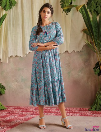 Attractive grey cotton printed casual wear kurti