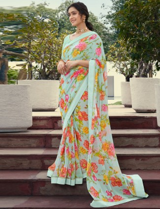 Attractive mint green printed georgette saree