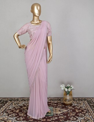 Attractive pink net wedding ready to wear saree with ready made blouse