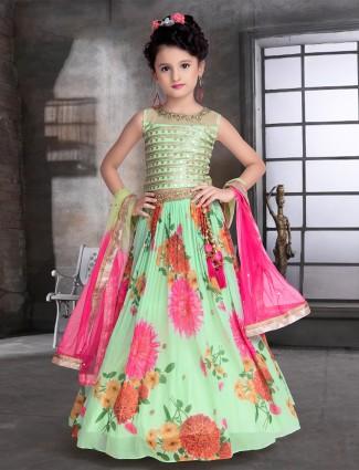Attractive pista green lehenga choliset for little girls
