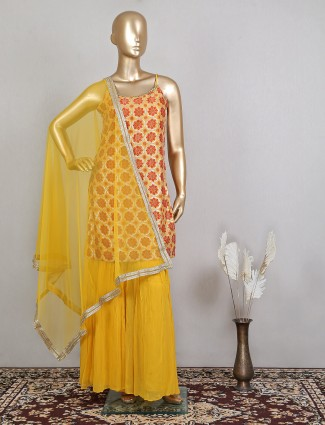 Attractive yellow colour sharara suit for women