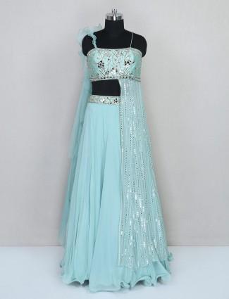 Auqa blue georgette wedding lehenga choli