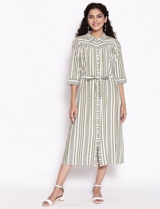 Aurelia alluring grey stripe cotton women casual wear kurti