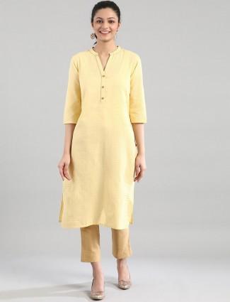 Aurelia Alluring yellow solid cotton women kurti
