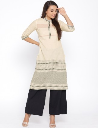 Aurelia beige hue cotton fabric classic kurti