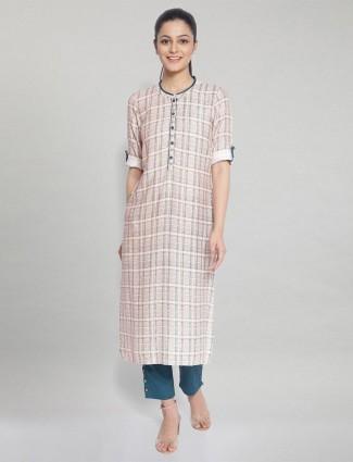 Aurelia designer peach checks cotton casual wear kurti