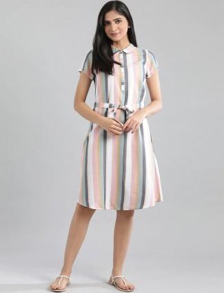 Aurelia latest stripe casual wear white kurti in cotton