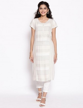 Aurelia off white simple casual wear stripe kurti in cotton