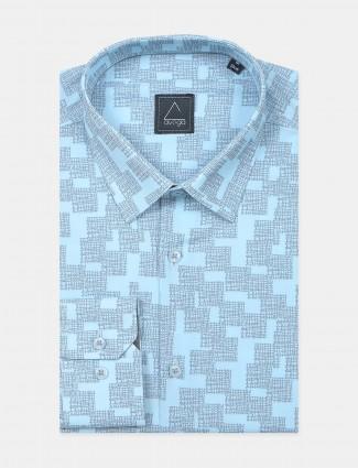 Avega aqua hue cotton printed shirt for men