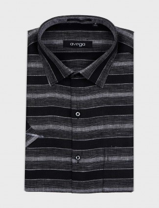 Avega black stripe slim fit shirt