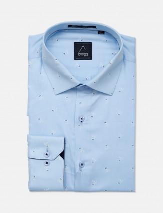 Avega blue printed cotton fabric shirt