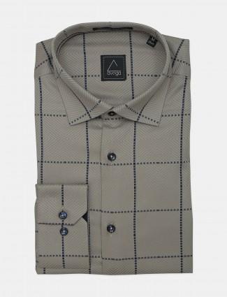 Avega Grey cottn formal wear slim fit shirt for mens
