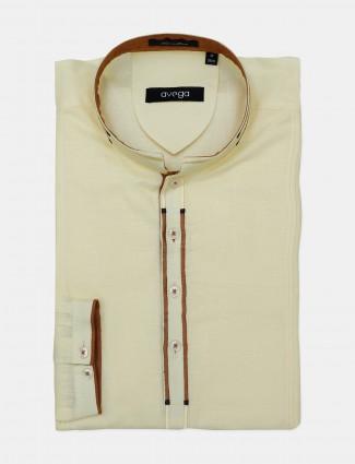 Avega cotton fabric solid yellow mens kurta shirt