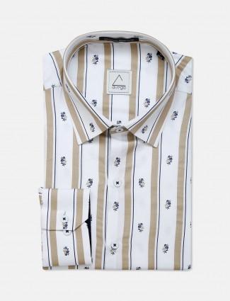 Avega cream printed pattern cotton shirt