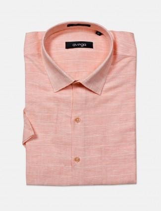 Avega cut away collar peach stripe shirt in cotton