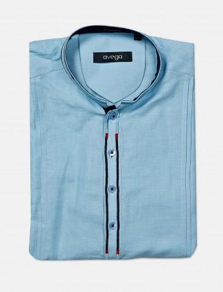 Avega formal wear cotton solid blue shirt