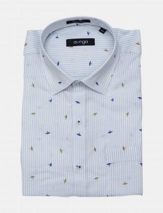 Avega formal wear linen stripe white shirt