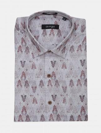Avega grey printed slim fit linen shirt