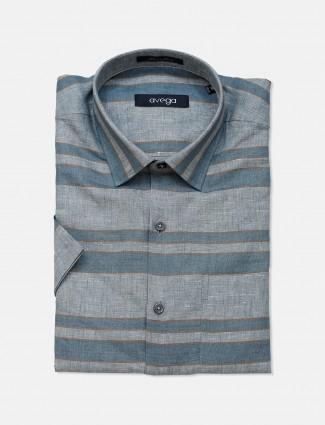Avega grey stripe linen shirt foor mens