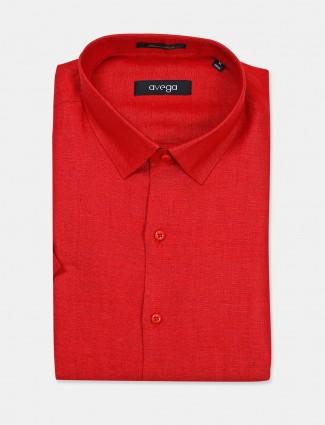 Avega linen red solid slim fit shirt
