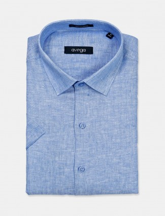 Avega linen solid blue shirt