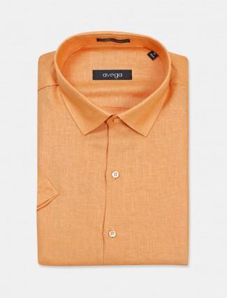 Avega orange solid linen shirt