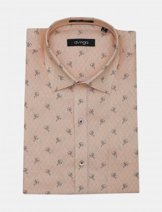 Avega peach printed linen shirt