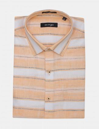Avega peach stripe linen shirt
