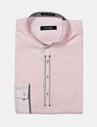 Avega pink pink solid slim fit shirt