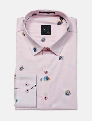 Avega pink printed cotton formal shirt