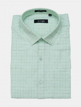 Avega pista green checks linen formal shirt for mens