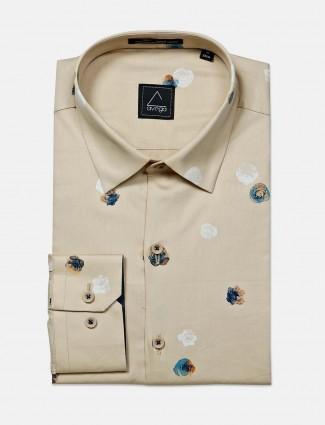 Avega presented brown printed formal cotton shirt