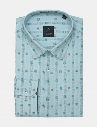 Avega presented ocean green printed style men formal shirt