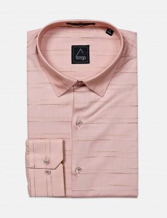 Avega presented peach cotton stripe shirt