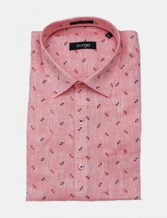 Avega presented printed pink linen shirt