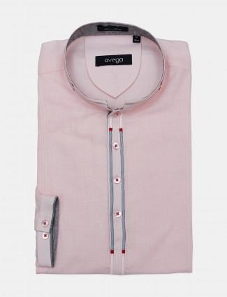 Avega presented solid pink formal cotton shirt