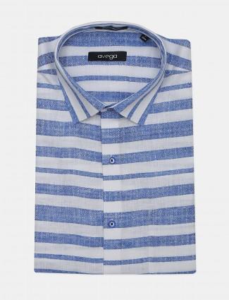 Avega presented white and blue linen stripe shirt