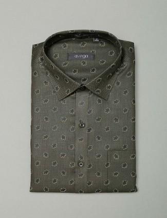 Avega printed olive color cotton fabric shirt