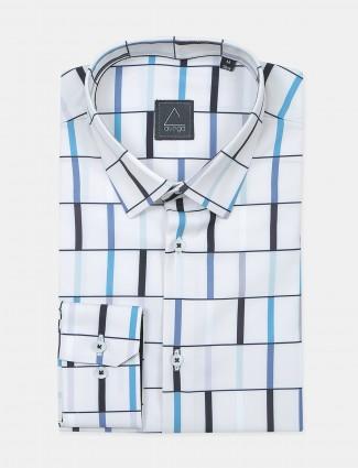 Avega printed white cotton shirt for men