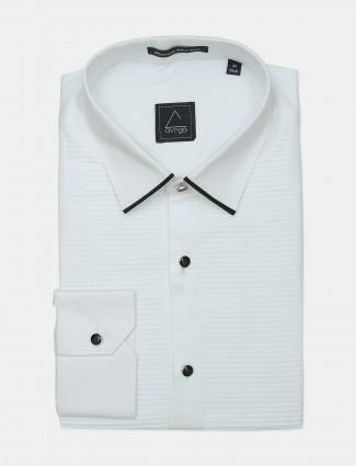 Avega printed white formal wear shirt for mens