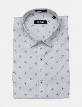 Avega printed white linen shirt