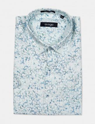 Avega sky blue printed linen fabric shirt