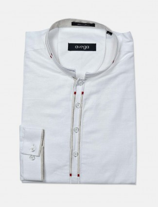 Avega solid cotton white shirt