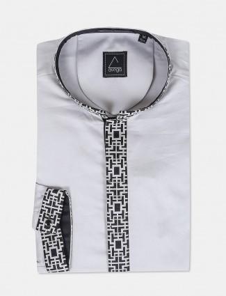 Avega stand collar grey color solid shirt