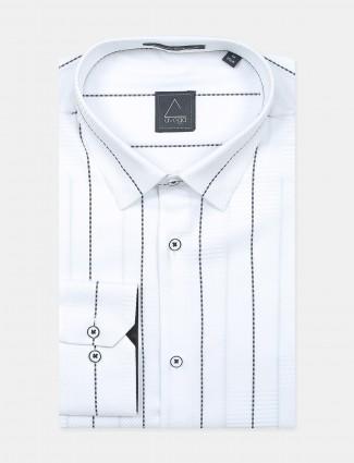 Avega stipe style white formal shirt for men in cotton