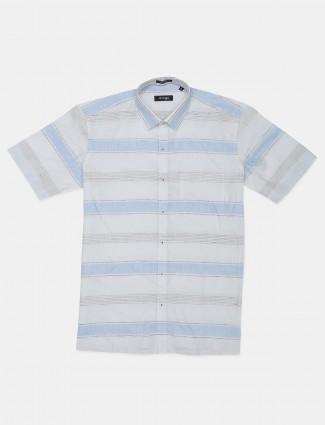 Avega stripe off white linen shirt for mens