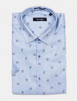 Avega stripe red linen half sleeve shirt