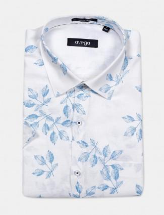 Avega white color printed slim fit linen shirt