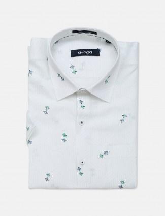Avega white printed linen formal shirt