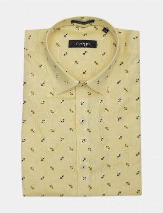 Avega yellow color printed slim fit linen shirt